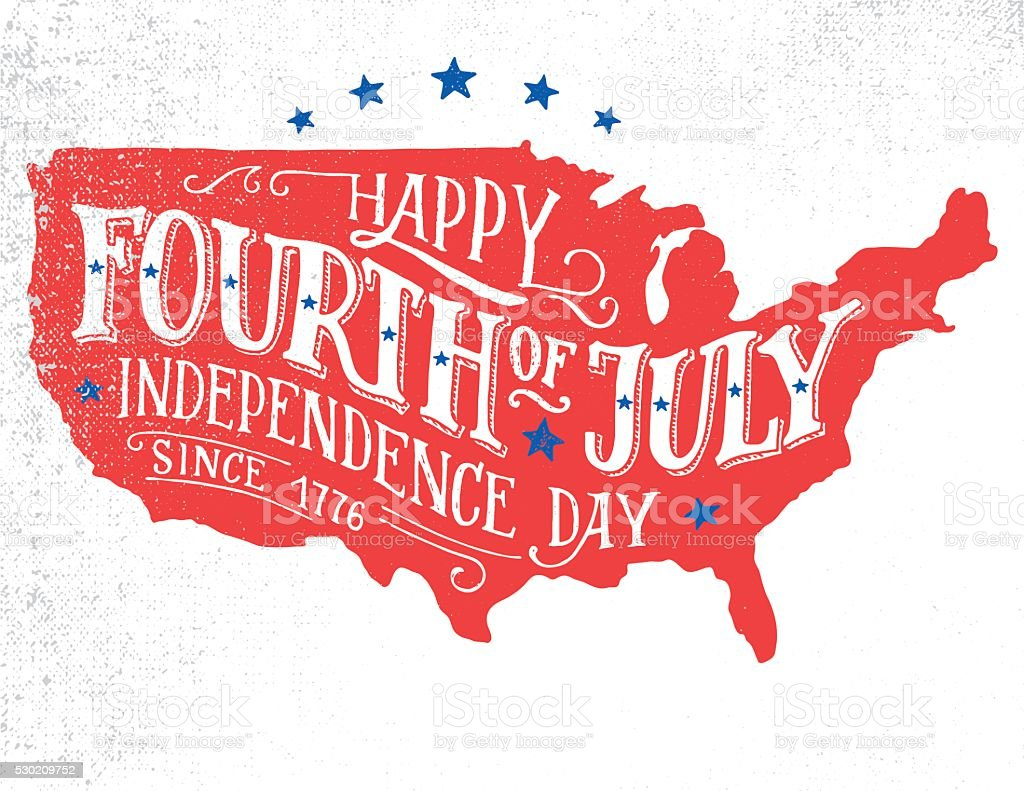 Happy Fourth of July hand-lettering greeting card vector art illustration