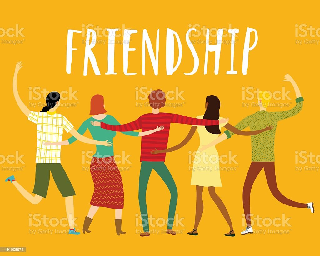 Happy friends together vector art illustration