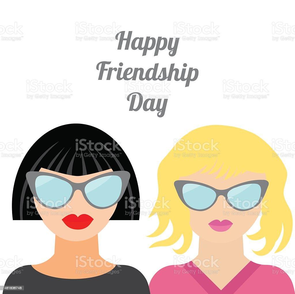 Happy Friendship Day Fashion blond brunet woman Best friends Flat vector art illustration
