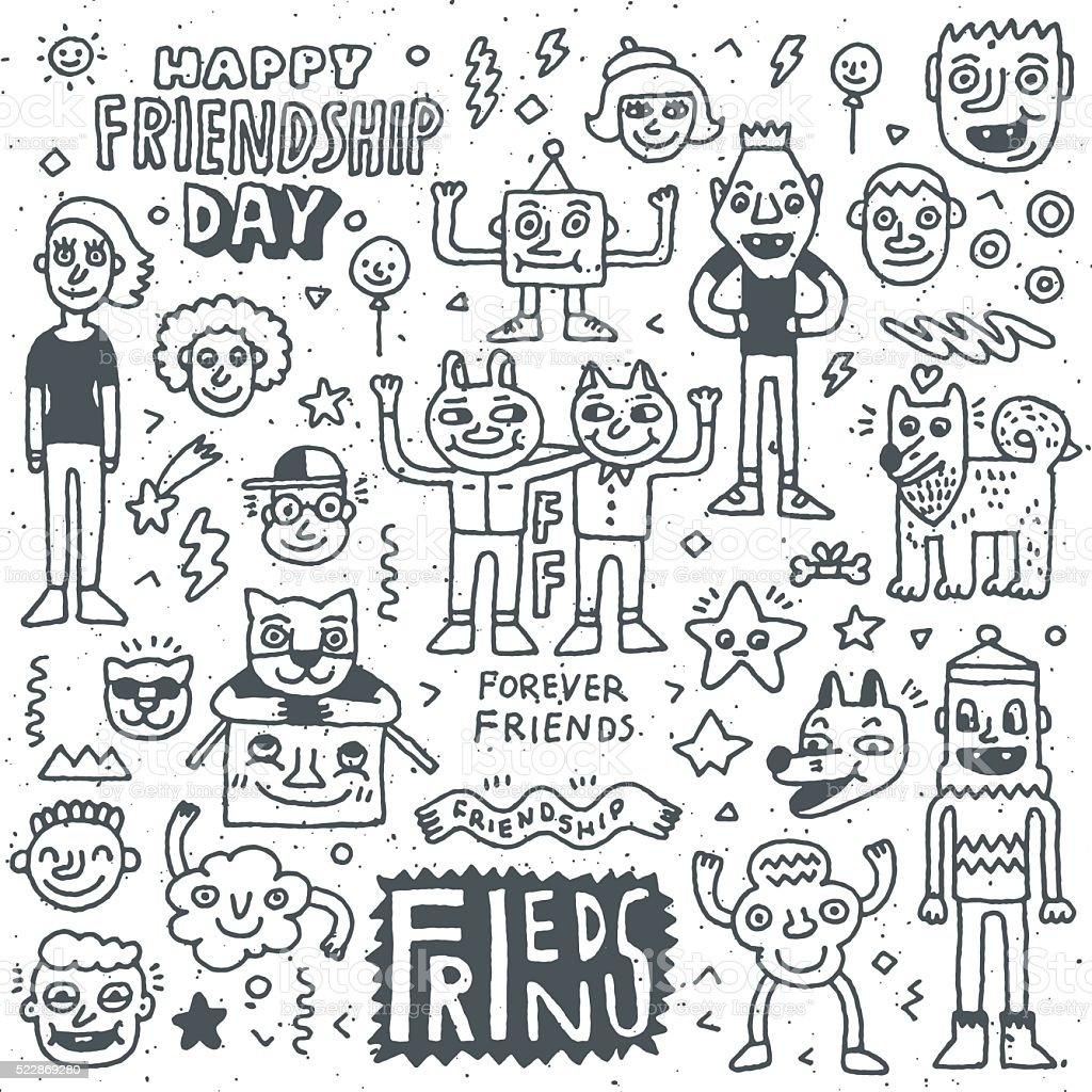 Happy Friendship Day. Funny Friends Cartoon Doodle Set. vector art illustration