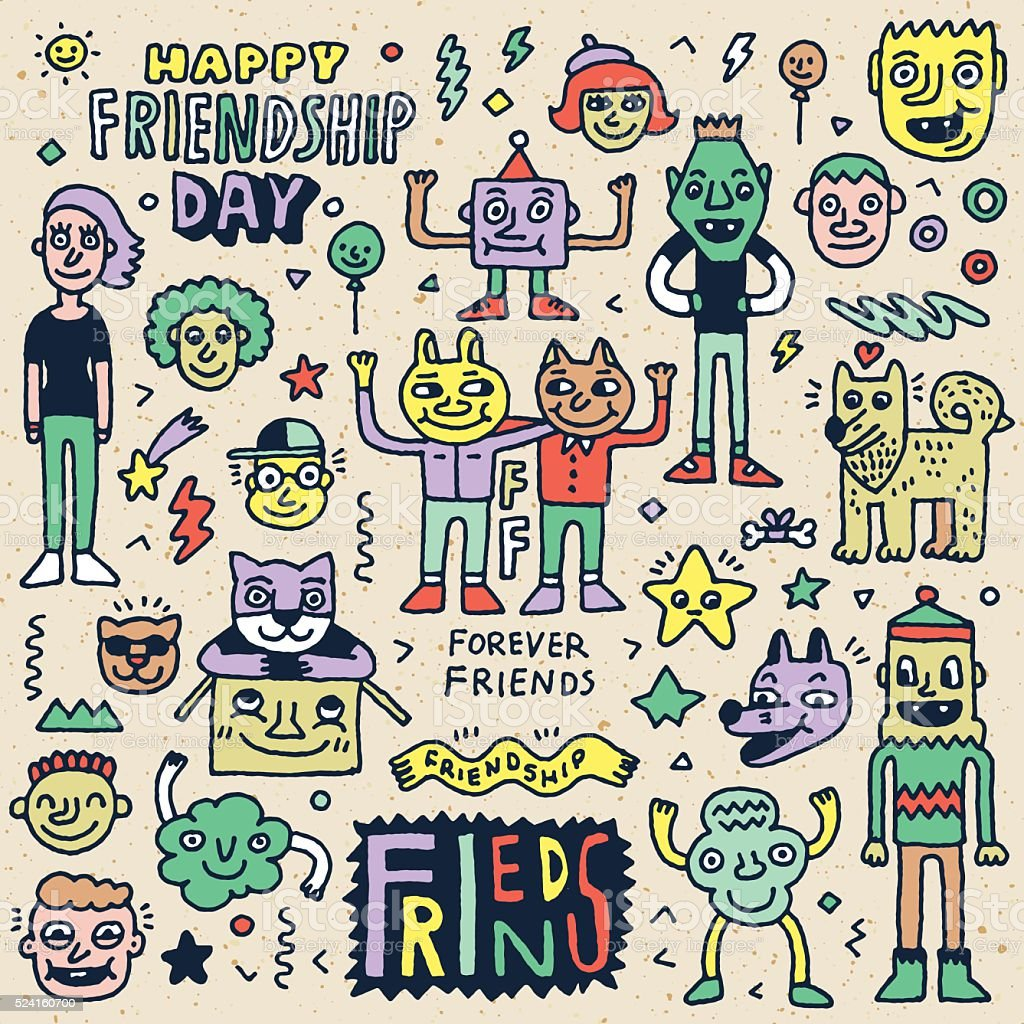 Happy Friendship Day. Funny Friends Cartoon Doodle Set. vector art illustration