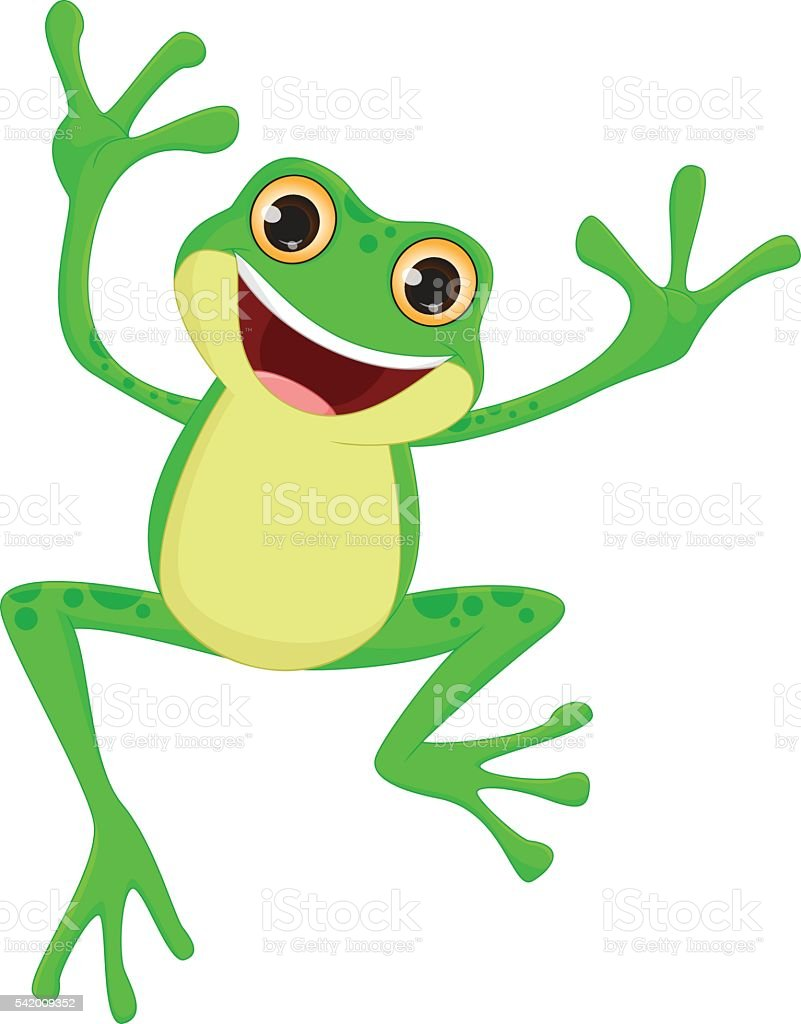happy Frog cartoon jumping vector art illustration