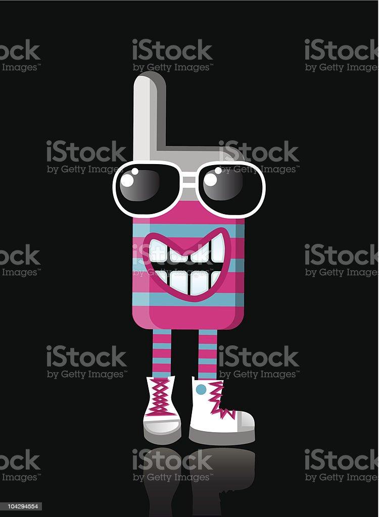 Happy funky MOBILE PHONE mascot royalty-free stock vector art