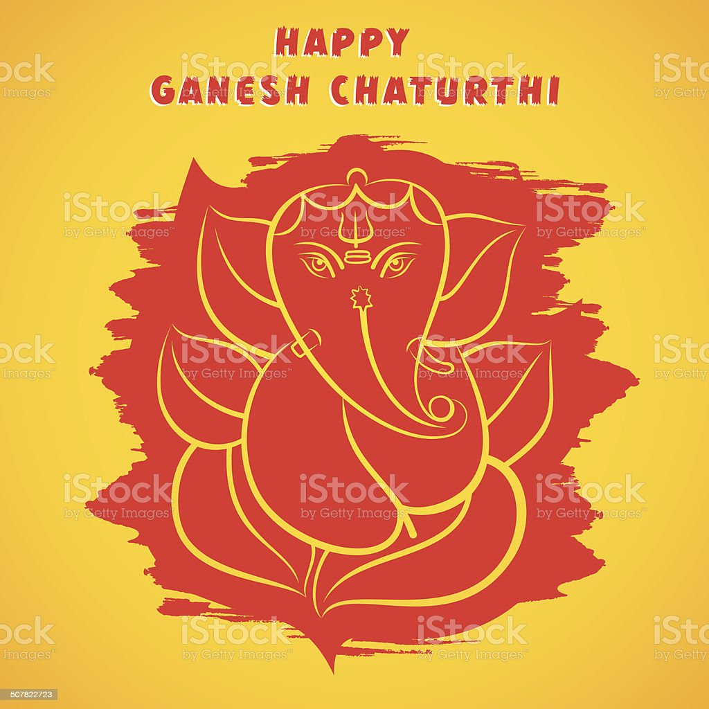 happy ganesh chaturthi sketch greeting card design vector art illustration
