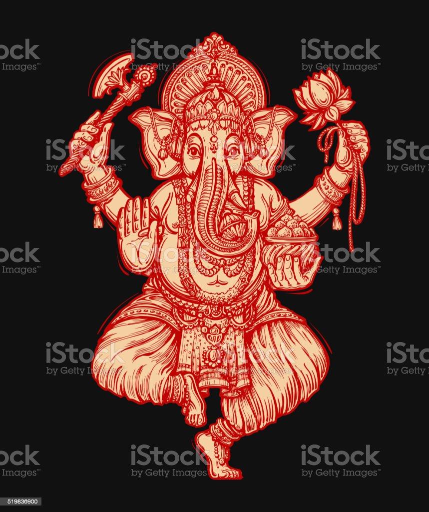 Happy Ganesh Chaturthi. Vector illustration of Hindu lord vector art illustration