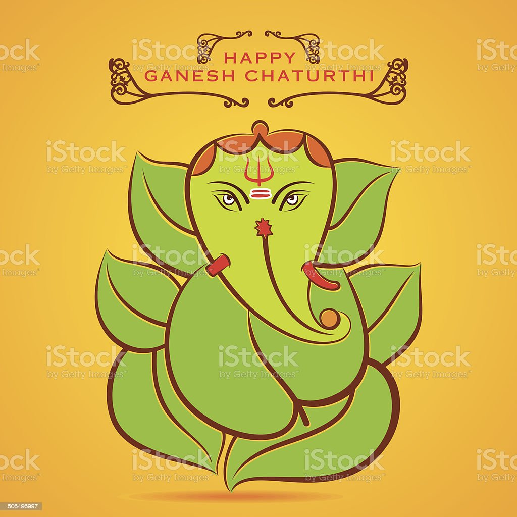 happy Ganesha chaturthi festival greeting background vector art illustration