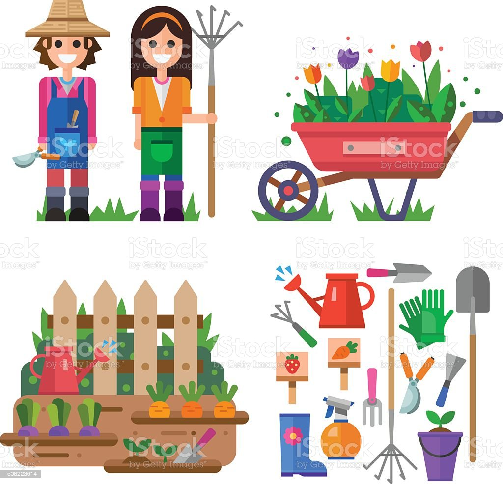 Happy gardeners boy and girl! vector art illustration