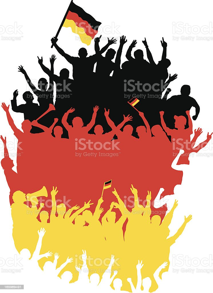 Happy Germans Fans in Shape of Germany Map. royalty-free stock vector art