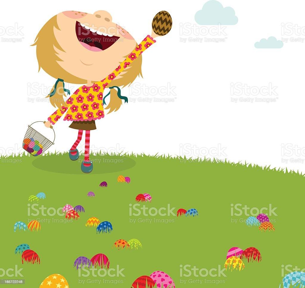 Happy girl. Easter egg hunt. Kids party vector art illustration
