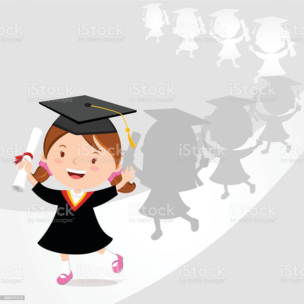 Happy girl graduation march vector art illustration
