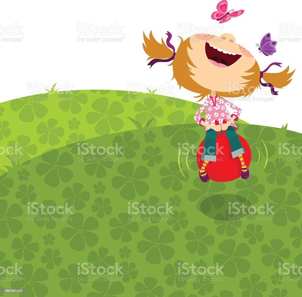 Happy girl jumping, bouncing on a hopper ball. vector art illustration
