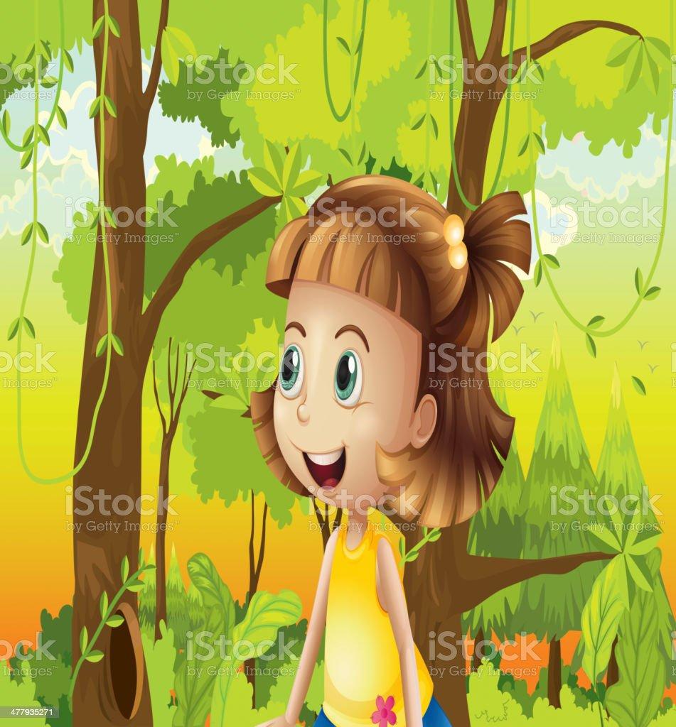 Happy girl near the trees royalty-free stock vector art