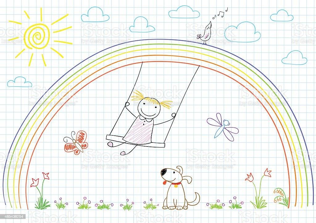 Happy girl on swing on rainbow vector art illustration