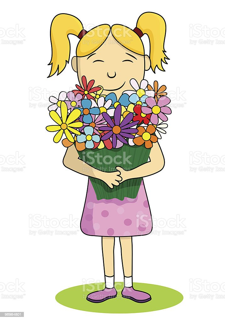 Happy girl vector art illustration