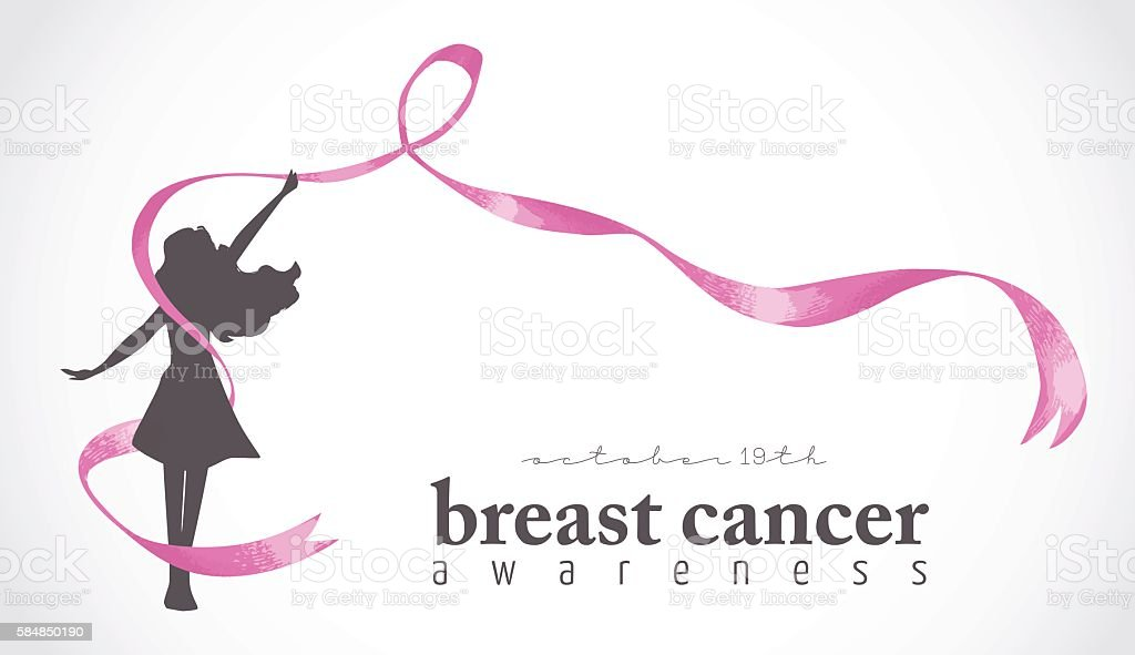 Happy girl with pink ribbon for breast cancer vector art illustration