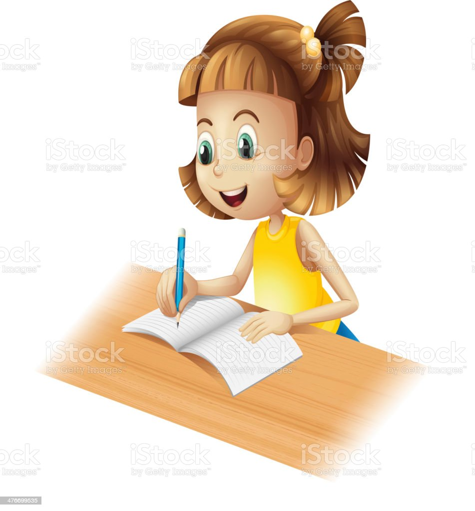 Happy girl writing royalty-free stock vector art