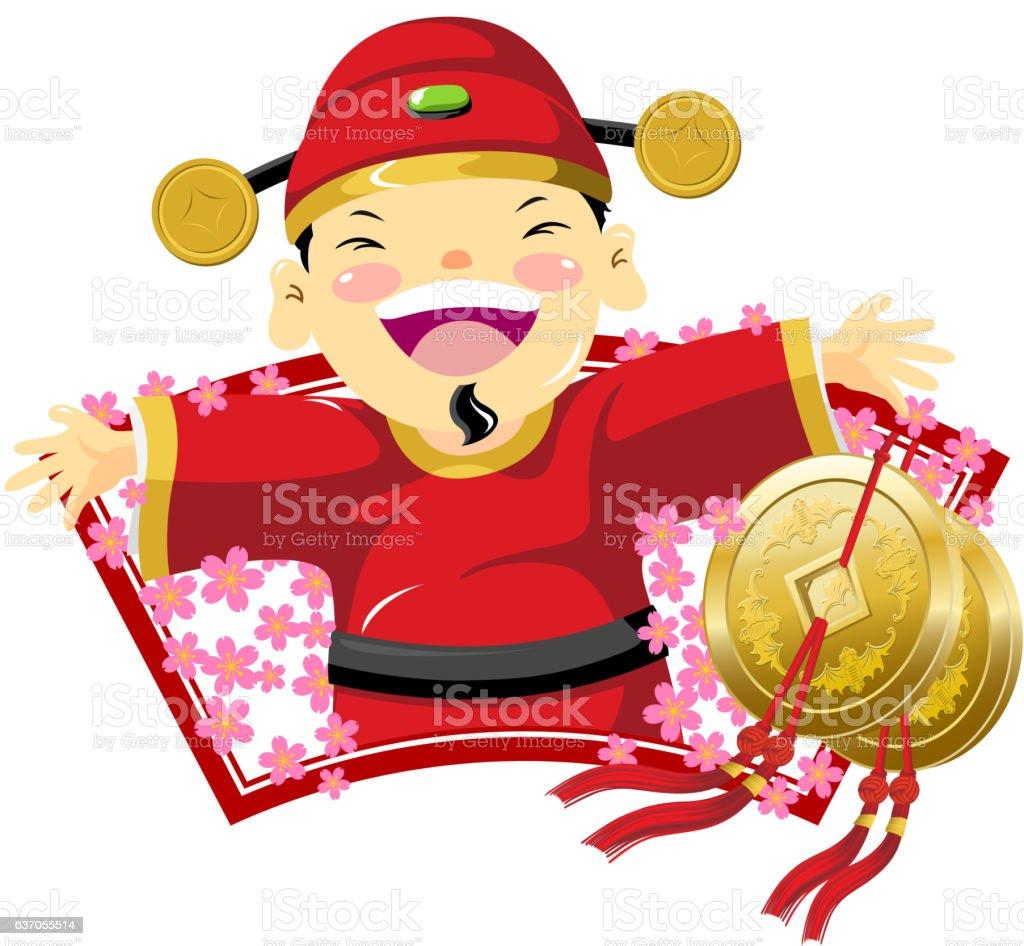 Happy God of Wealth vector art illustration