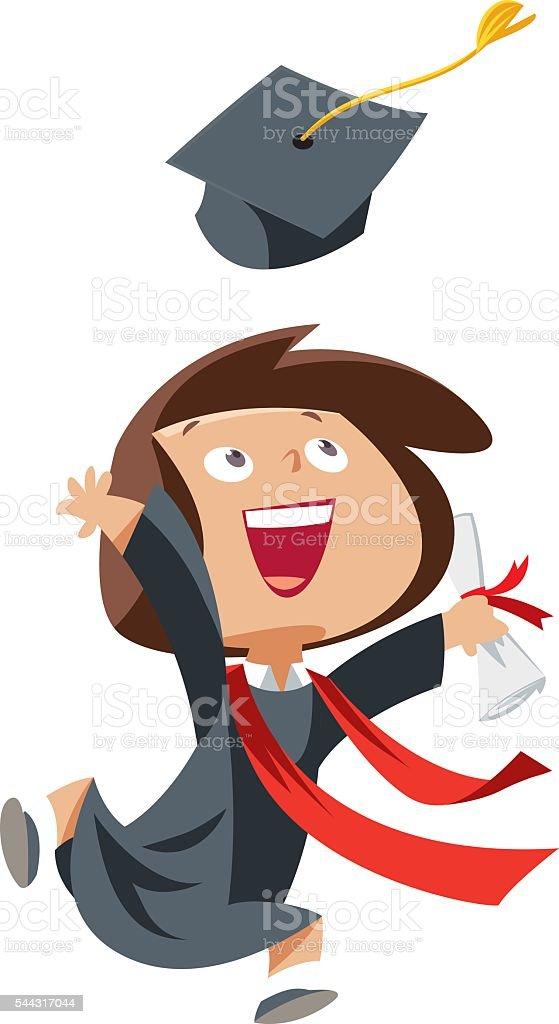 Happy graduate girl vector art illustration