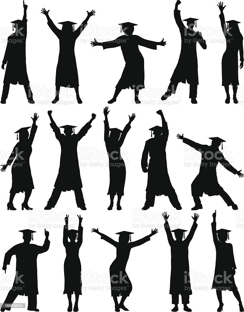 Happy Graduates royalty-free stock vector art