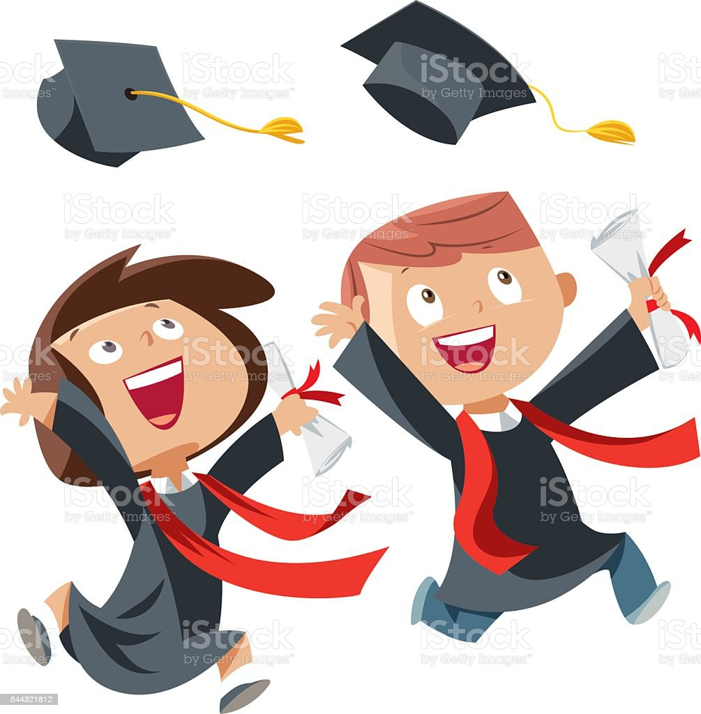 Happy graduation day vector art illustration