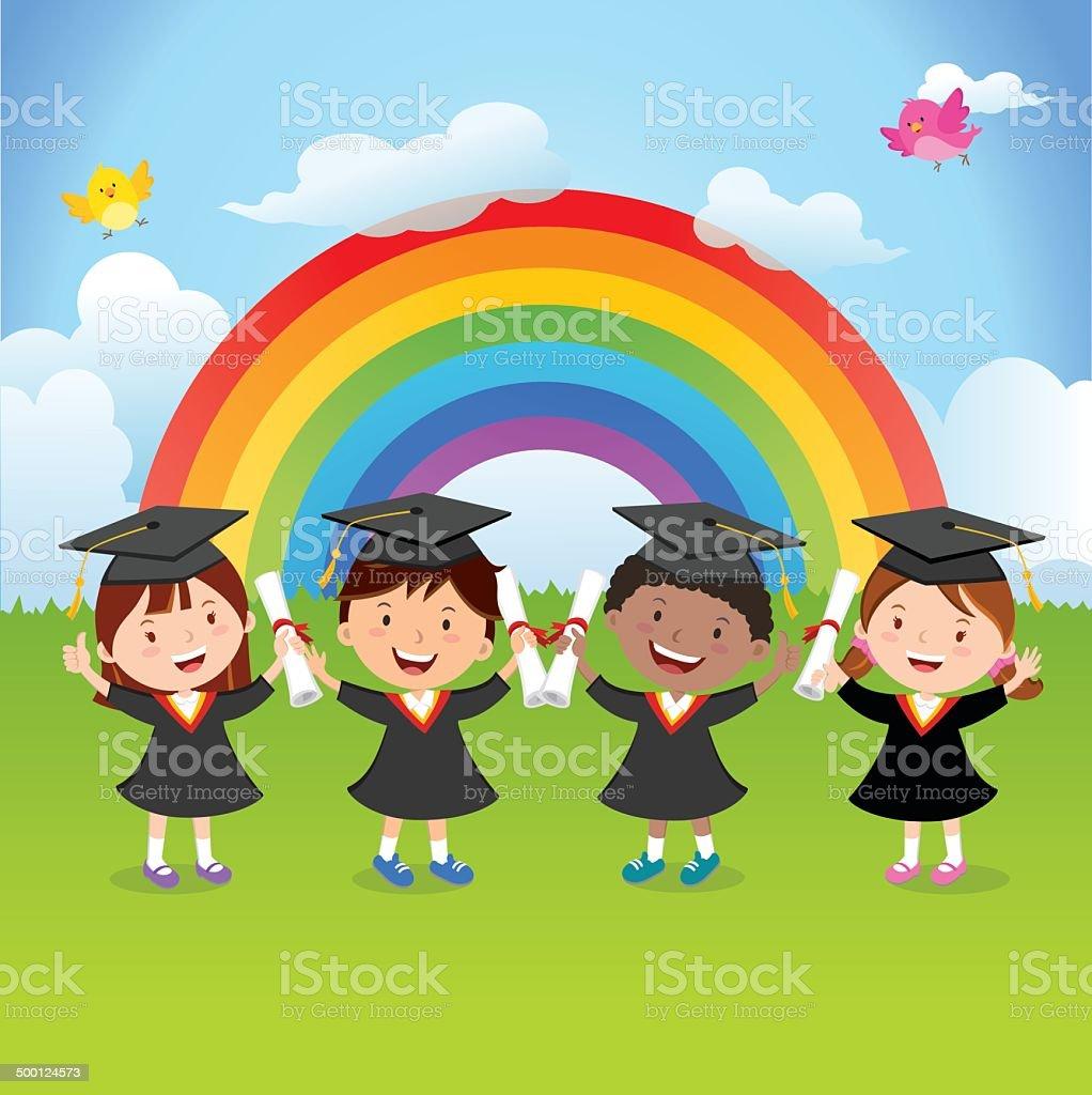 Happy graduation kids with rainbow vector art illustration