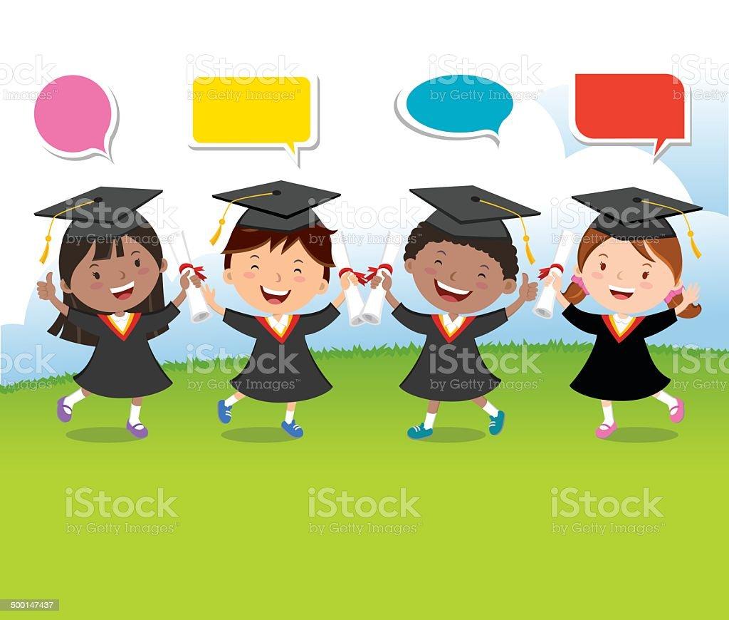 Happy graduation kids with speech bubbles vector art illustration