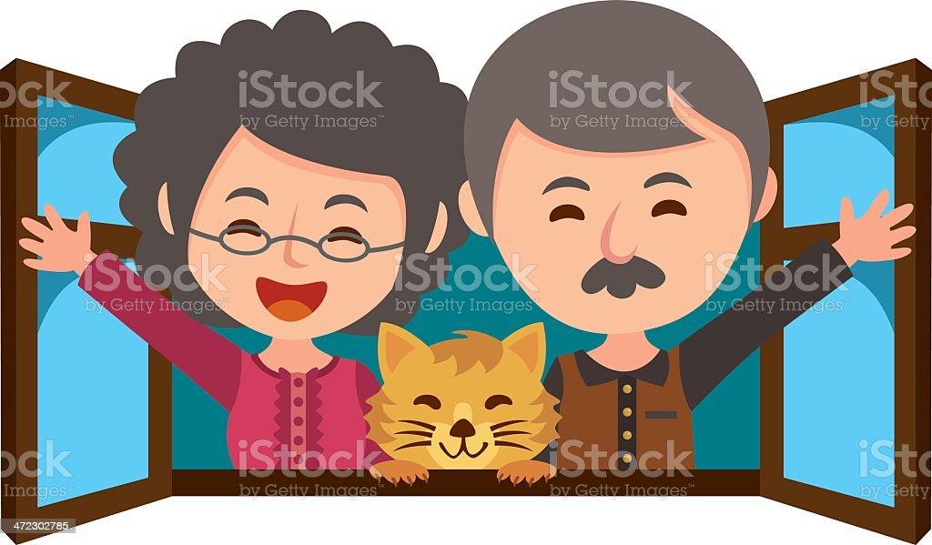 Happy grandparent vector art illustration