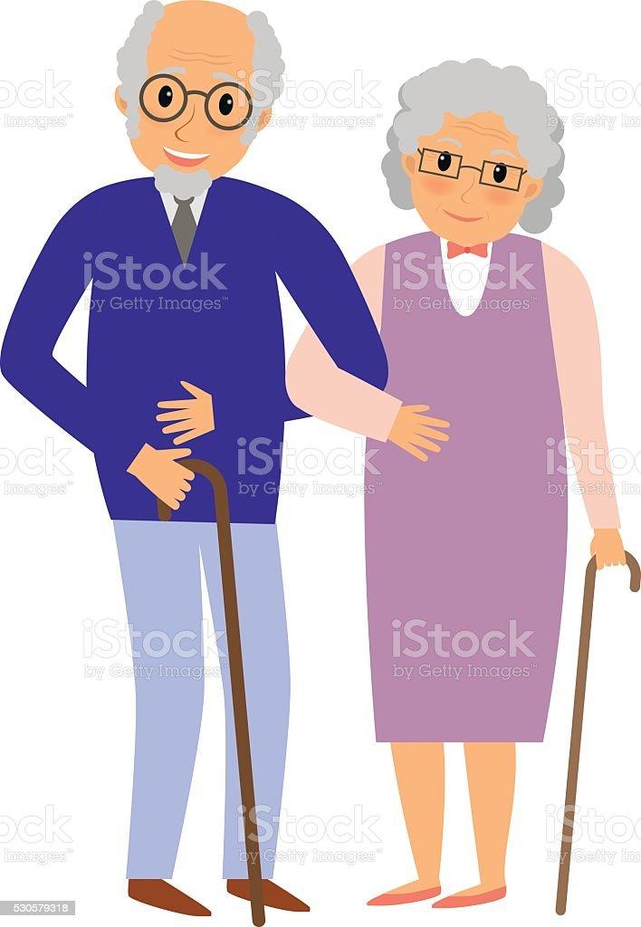Happy grandparents couple vector art illustration