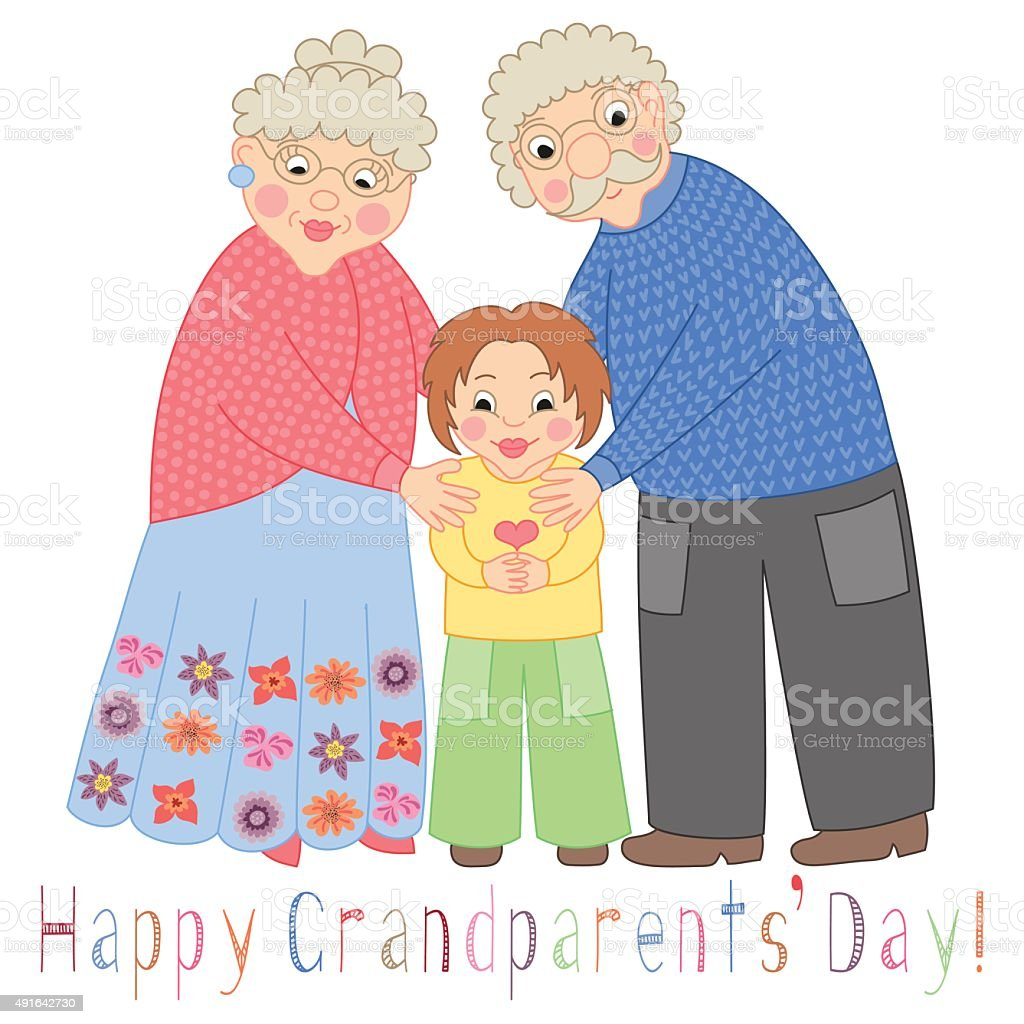 Happy grandparents day card. Poster with cute darling grandmother, grandfather vector art illustration