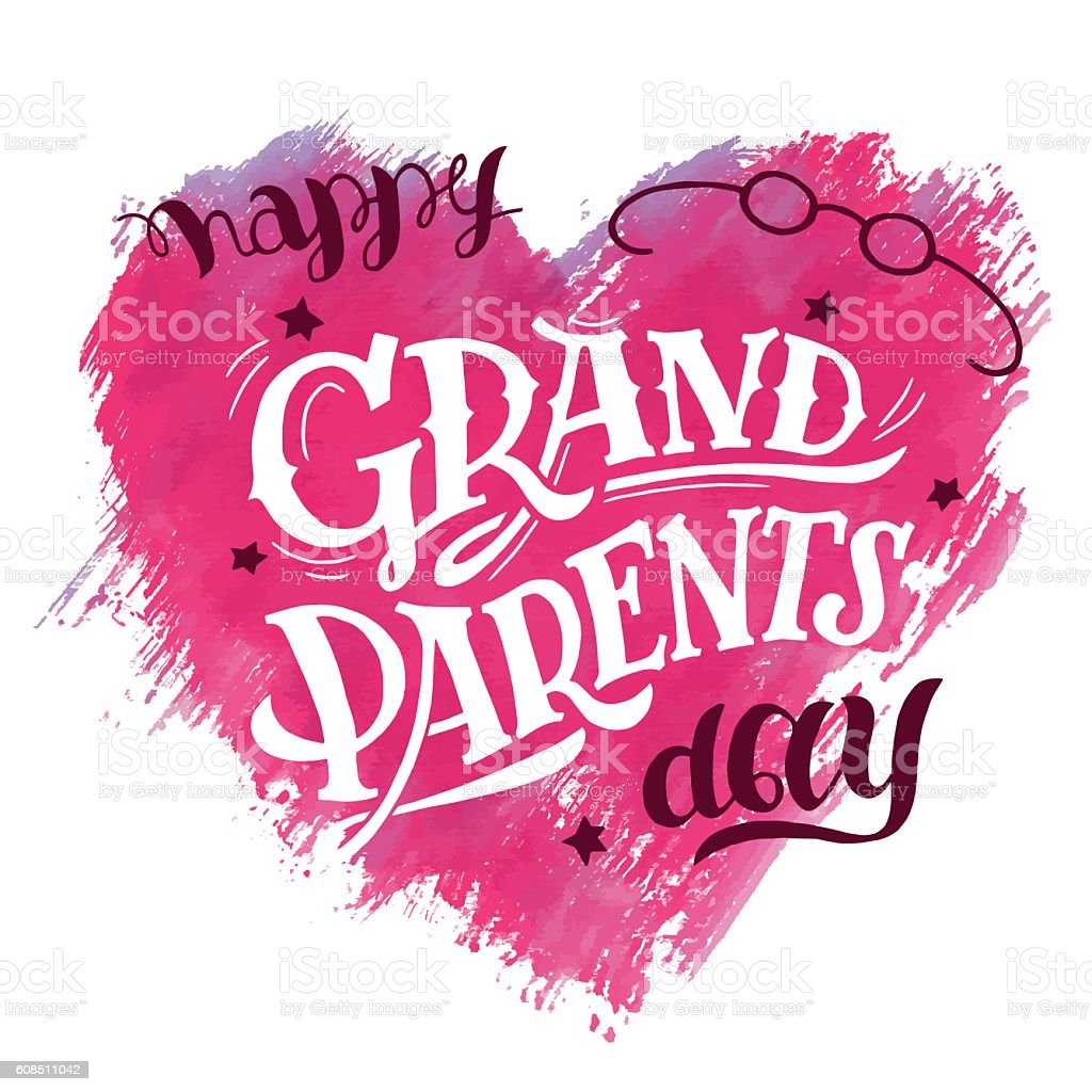 Happy Grandparents Day card vector art illustration