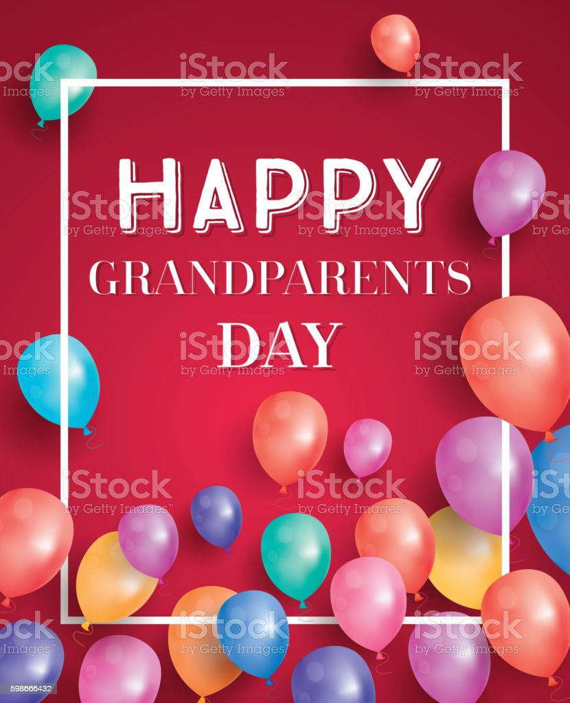 Happy Grandparents Day Card with Flying Balloons and White Frame. vector art illustration