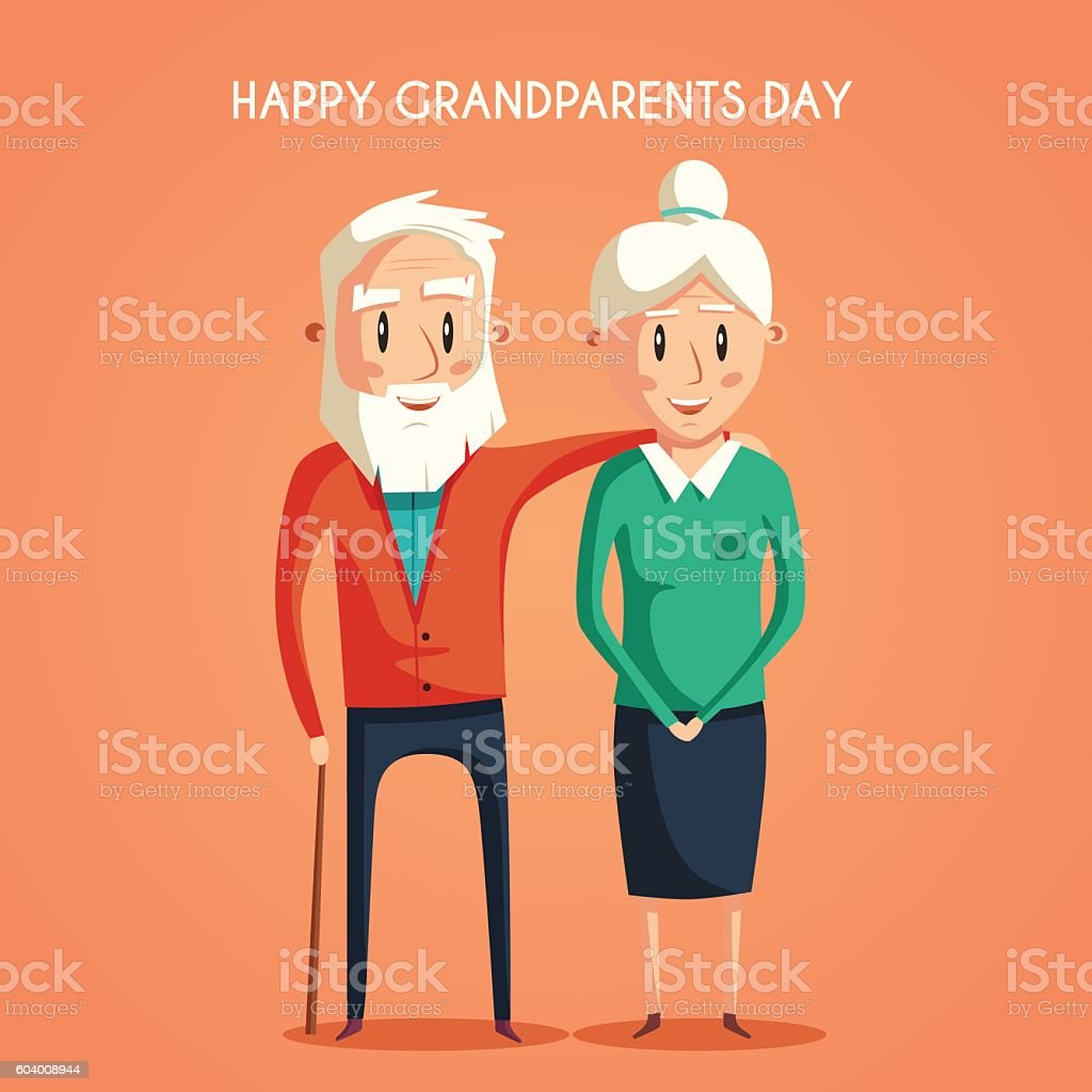 Happy grandparents. Vector cartoon illustration vector art illustration