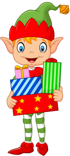 Happy Green Elf Boy Costume Holding Birthday Gifts Vector Art Illustration