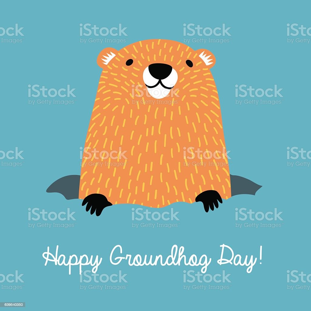 Happy Groundhog Day. Cute groundhog coming out of his burrow. vector art illustration