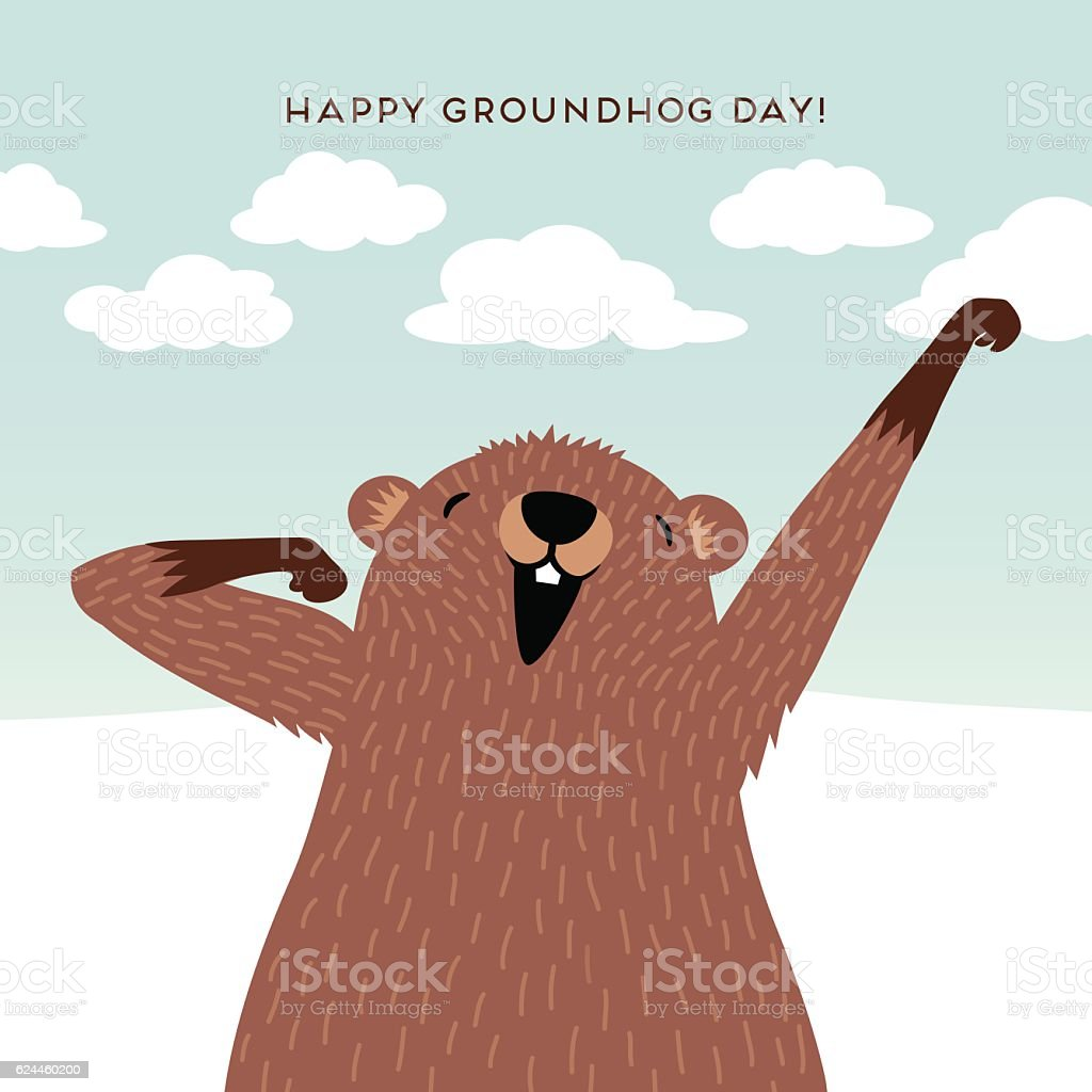 happy groundhog day design with cute groundhog waking up stock