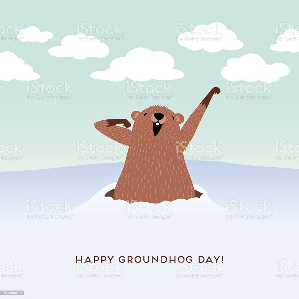 Happy Groundhog Day design with cute groundhog waking up. vector art illustration