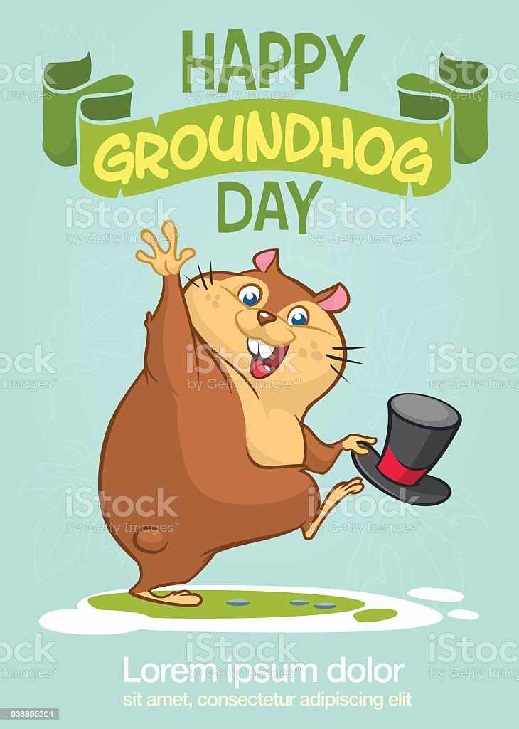 Happy Groundhog Day. Vector illustration with grounhog. vector art illustration