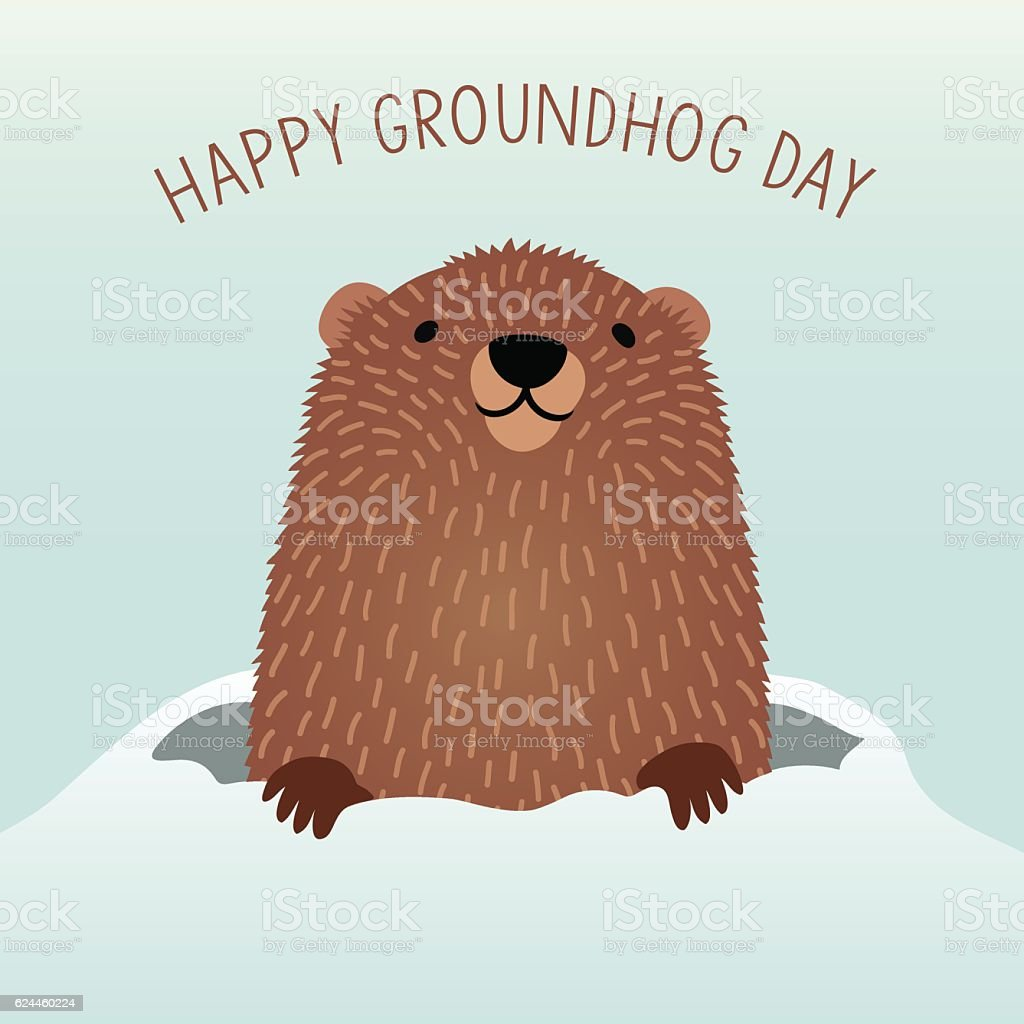 Happy Groundhog Day with cute groundhog emerging from his den vector art illustration