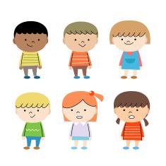 Happy Group Of Multi Ethnic Children vector art illustration