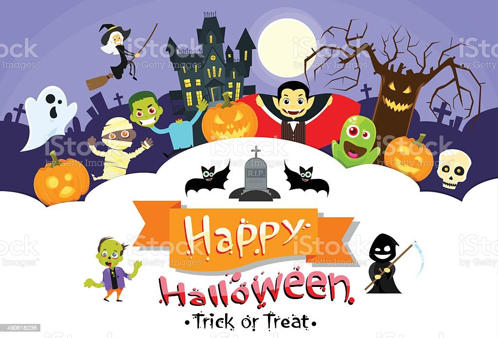 Happy Halloween Banner Monsters Flyer Collection Copy Space Poster vector art illustration