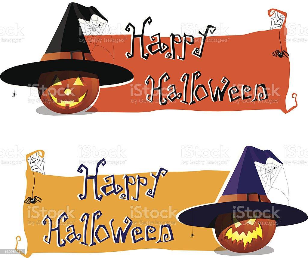 Happy Halloween banner with jack-o-latern pumpkin vector art illustration