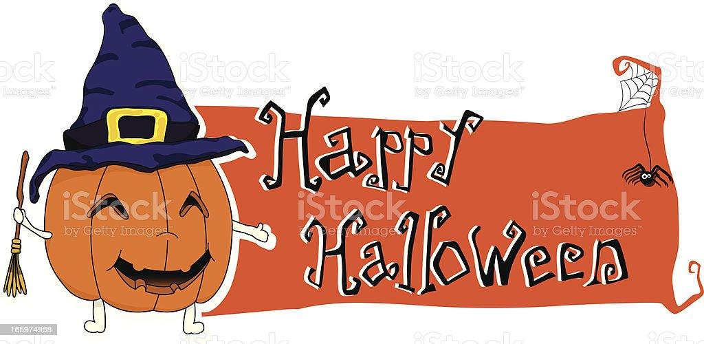 Happy Halloween banner with pumpkin vector art illustration