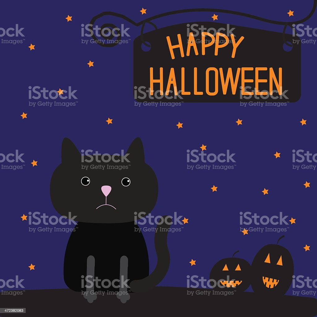 Happy Halloween black cat and pumpkins card. royalty-free stock vector art