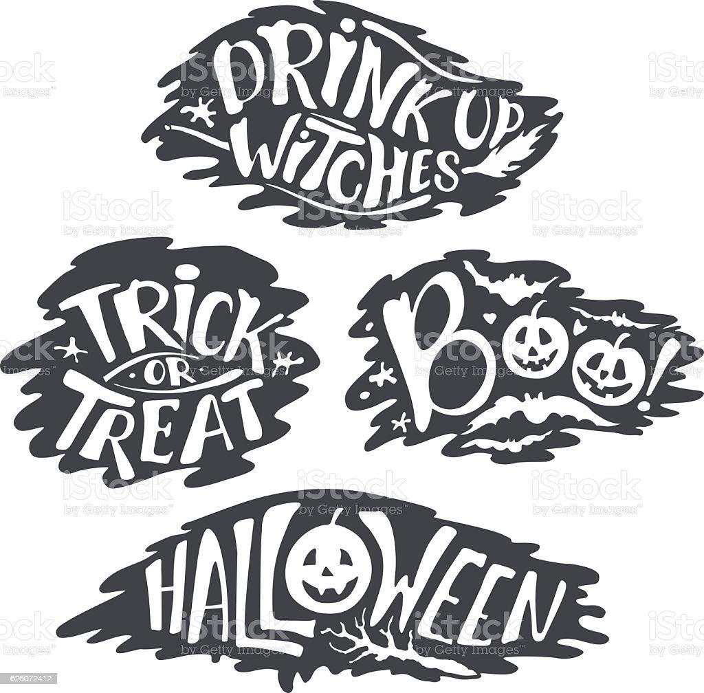 Happy Halloween Calligraphy backgrounds. Vector Halloween banner vector art illustration