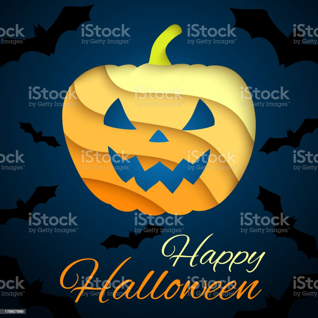 Happy Halloween card. Paper pumpkin on dark background with bats. royalty-free stock vector art