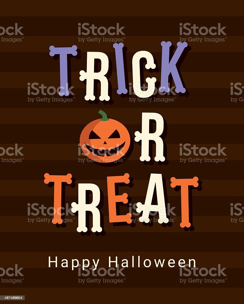 Happy Halloween card, trick or treat logo title vector art illustration