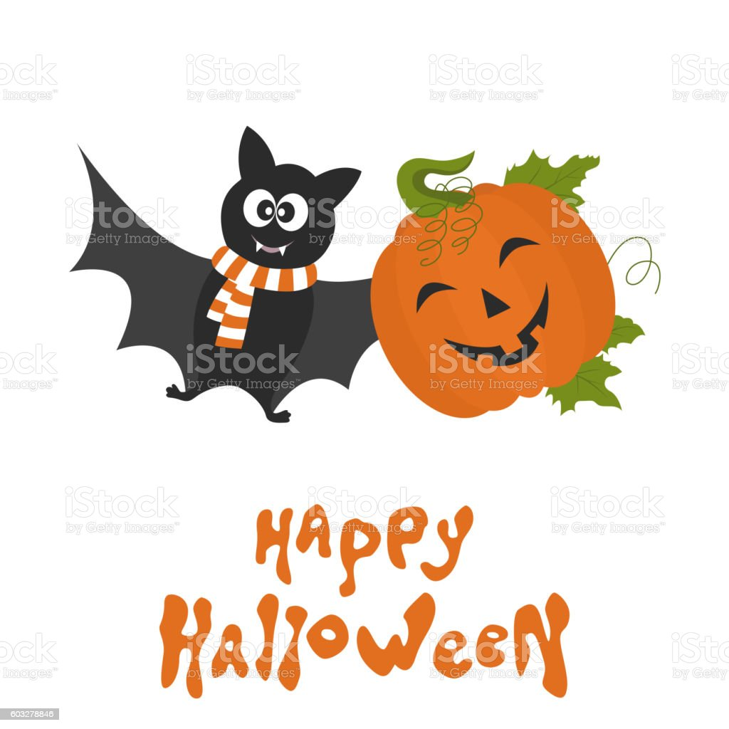 Happy Halloween card with cute cartoon  pumpkin and bat. vector art illustration