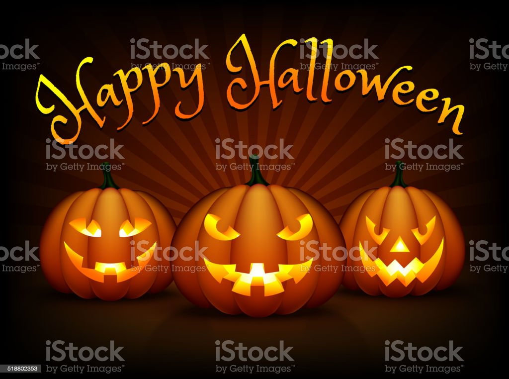 Happy Halloween Card with Pumpkin Faces vector art illustration