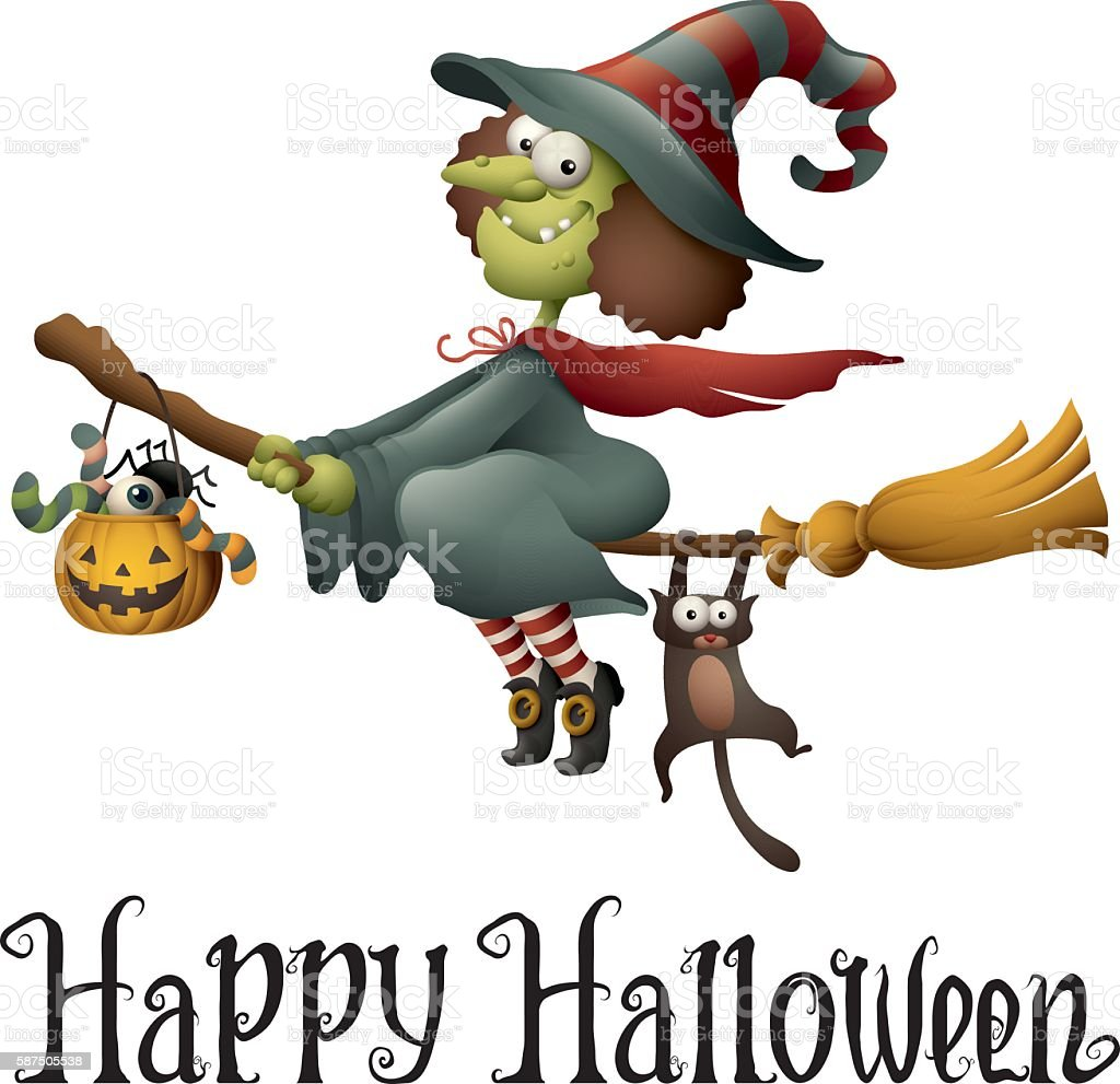 Happy Halloween - cartoon witch flying vector art illustration