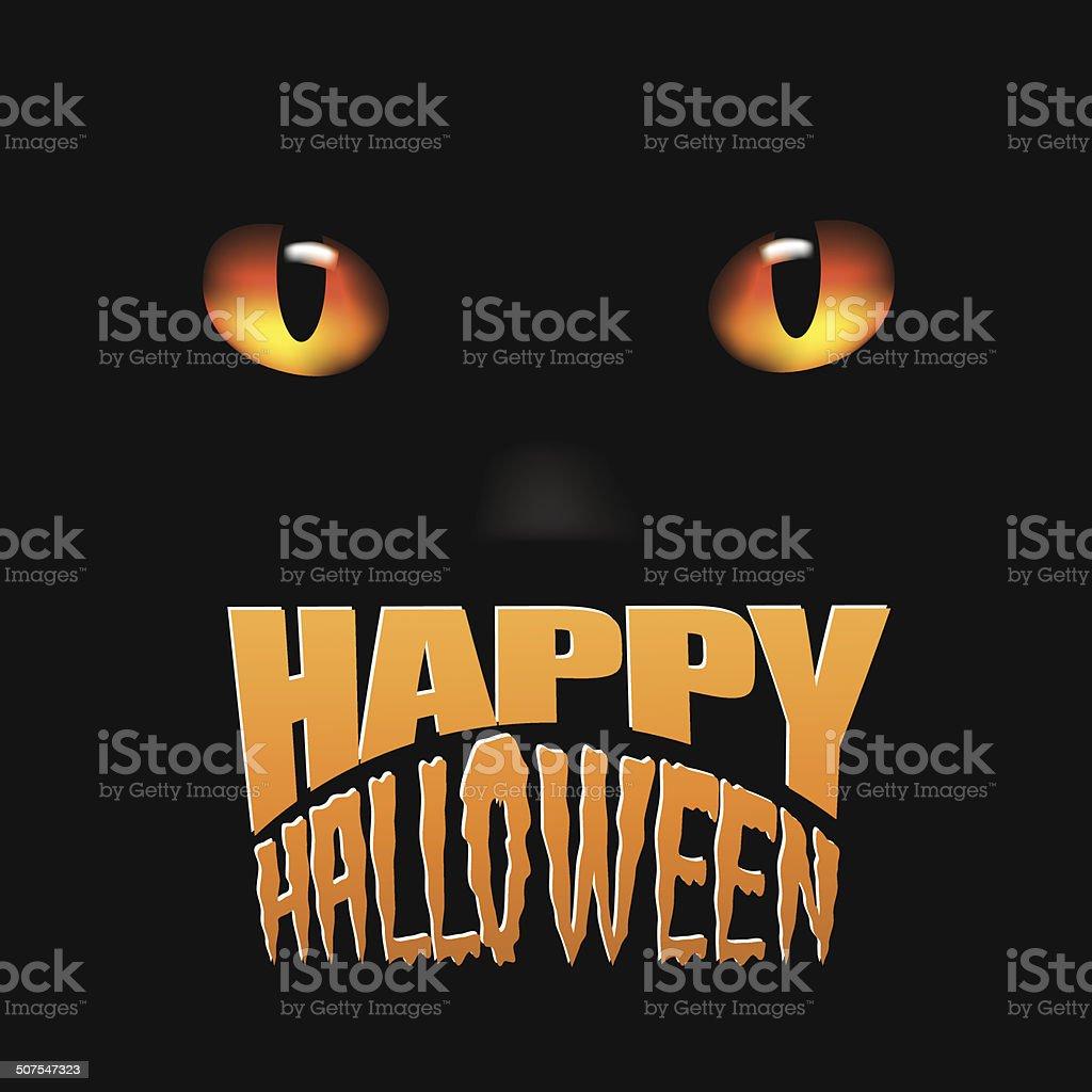 Happy Halloween Cat Design vector art illustration
